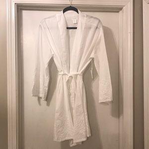 Cynthia Rowley White Embroidered Cotton Robe